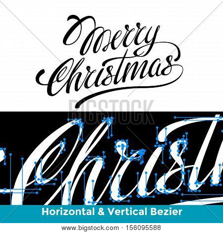 Merry Christmas lettering calligraphy the inscription is made in the horizontal and vertical lines bezier with light background for logo banners labels postcards prints posters web.
