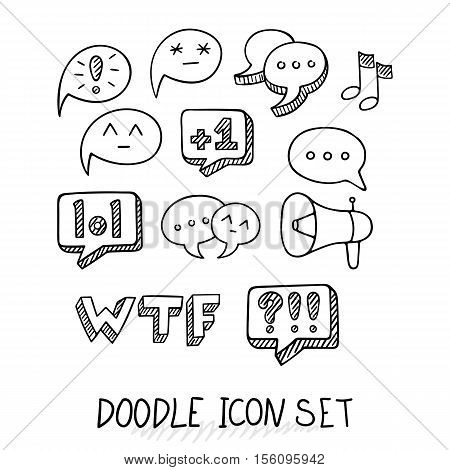 Set of Universal Doodle Icons. Variety of Topics. Communication, Social Media, Comments and Ratings, Yada, Chatting. poster