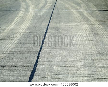 Tire marks on road track for background