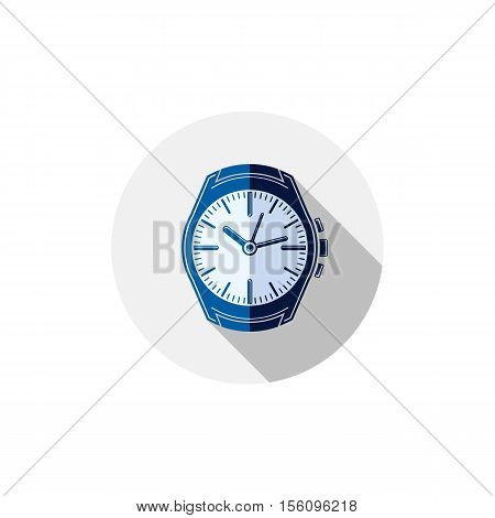 Stylish Wristwatch Illustration, Elegant Timepiece With Dial And An Hour Hand. Corporate Design Embl