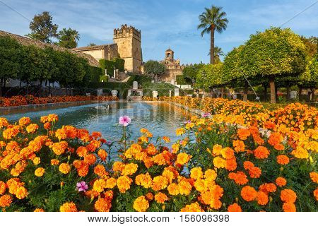 Blooming gardens and fountains of Alcazar de los Reyes Cristianos, royal palace of the cristian kings, in Cordoba, Andalusia, Spain