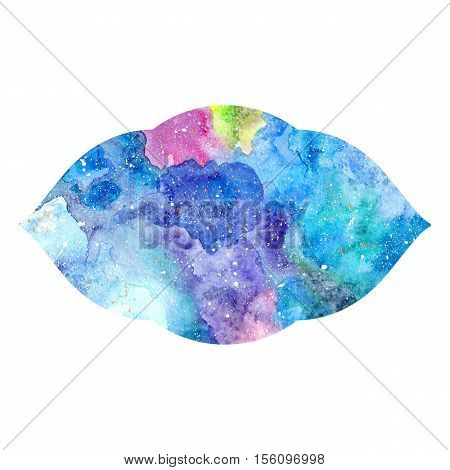 Chakra Ajna icon ayurvedic symbol concept of Hinduism Buddhism. Watercolor cosmic texture. Isolated on white background