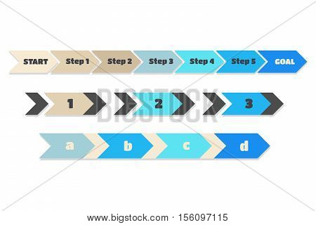 Steps Infographics vector blue brown arrows: start 1 2 3 4 5 goal a b c d isolated symbols