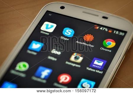 BUCHAREST ROMANIA - SEPTEMBER 04 2014: Popular aplication icons on smart phone screen