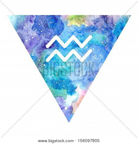 Aquarius zodiac sign on watercolor triangle background. Astrology symbol