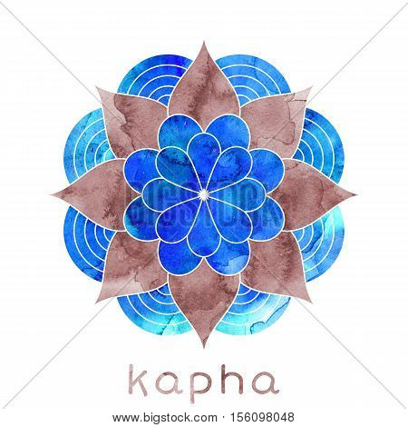 Kapha dosha abstract symbol with watercolor texture. Ayurvedic body type