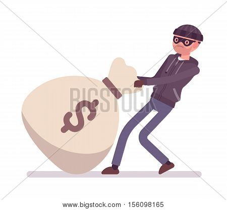 Thief dragging a giant heavy money bag. Cartoon vector flat-style concept illustration