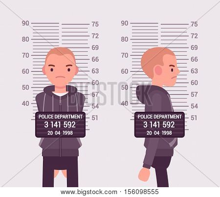 Mugshot of a young white man taken after arrest. Cartoon vector flat-style concept illustration