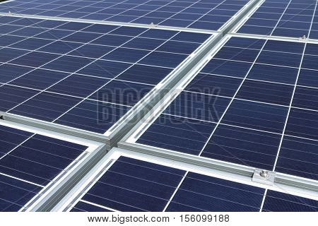 Solar Rooftop PV Panels Background Closeup View