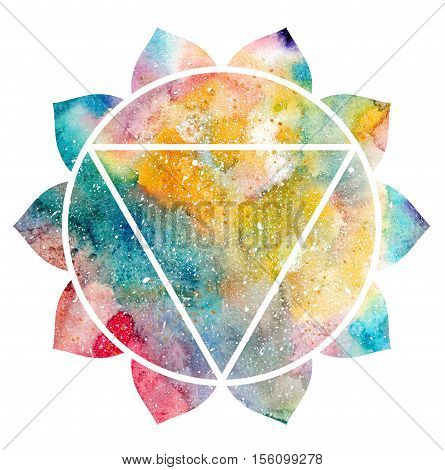 Chakra Manipura icon ayurvedic symbol concept of Hinduism Buddhism. Watercolor cosmic texture. Isolated on white background