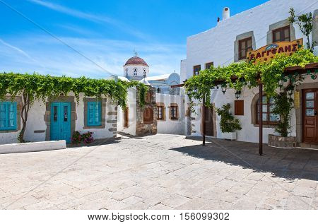 Patmos Greece - May 16 2010: The central square of the Chora village