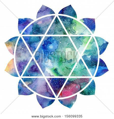 Chakra Anahata icon ayurvedic symbol concept of Hinduism Buddhism. Watercolor cosmic texture. Isolated on white background