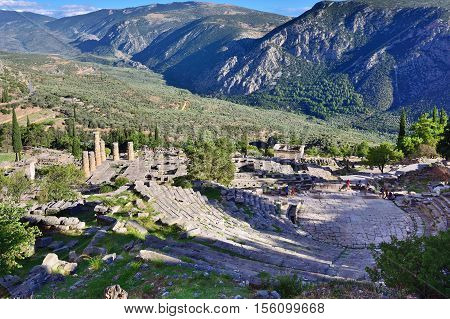 View from above on the antique Theatreand Apollo Temple in Delphi famous archaeological site in Greece