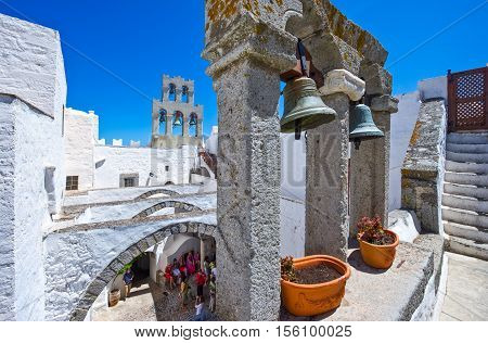 Patmos Greece - May 16 2010: Visitors in the Agios Joannis Theologos Monastry