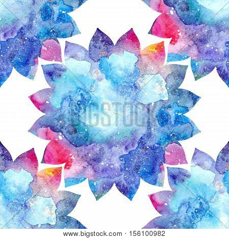 Watercolor floral ornament flower silhouette rainbow colorful Indian lotus flowers bright multicolored texture.