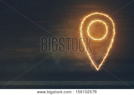 Fire Location Pin Icon on the Road - Location Navigation Travel Trip Place Journey Concept