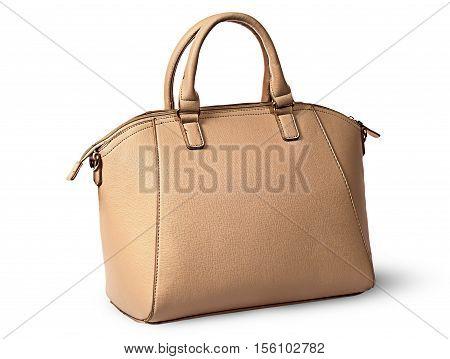 Elegant women beige handbag rotated rear view isolated on white background