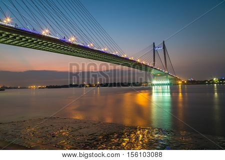 Vidyasagar setu (bridge) on river Hooghly at twilight time. The longest cable bridge in India.