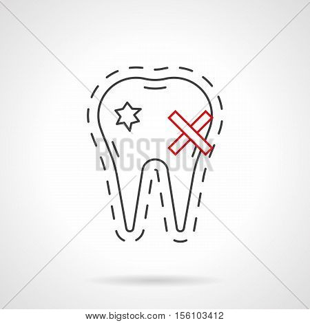 aching tooth with carious holes on enamel. impact of smoking on dental health. toothache. tooth decay. stomatology. Flat black and red line vector icon.