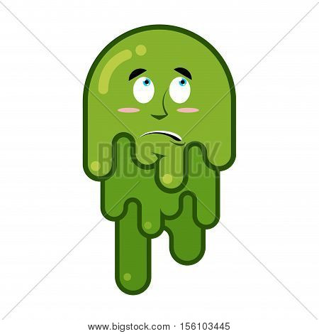 Surprised Booger. Discouraged Emotion Snot. Big Green Wad Of Mucus Snivel