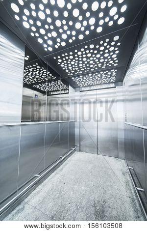 interior massive steel elevator - lighting led