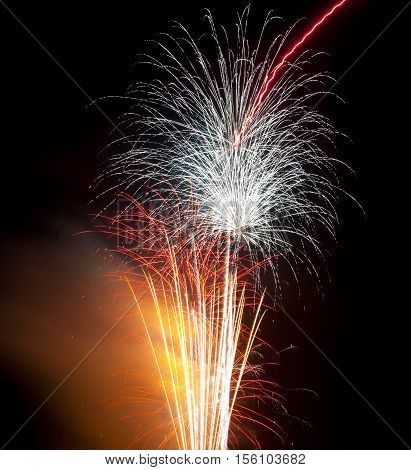 Colourful Firework display at St Helen's sports ground in Swansea UK