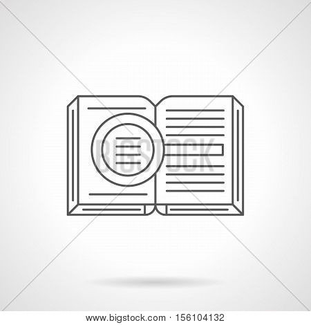 Symbol of criminalistics or detective literature. Open book with magnifier sign. Criminology, search evidence of crimes. Flat black line vector icon.