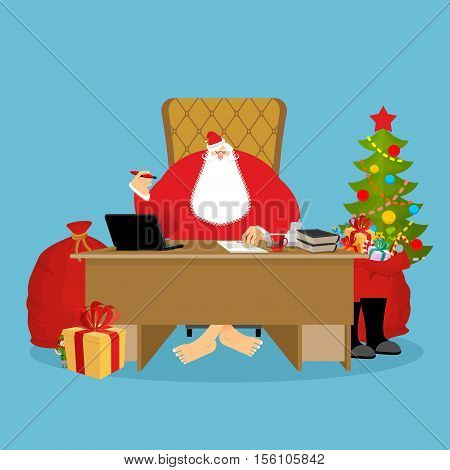 Santa Claus Office. Christmas Work. Desk And Chair Boss. Grandpa Director Of New Year. Santas Magic