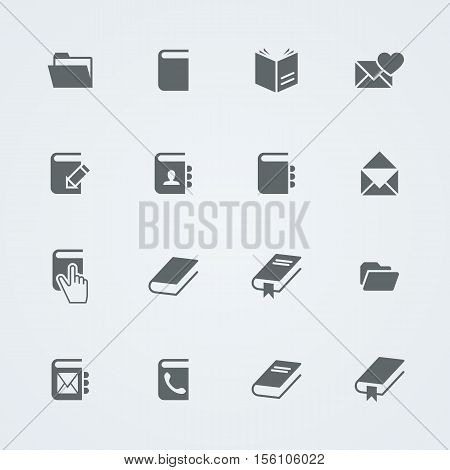 Simple set of books and mail. Flat related vector icons for your design.