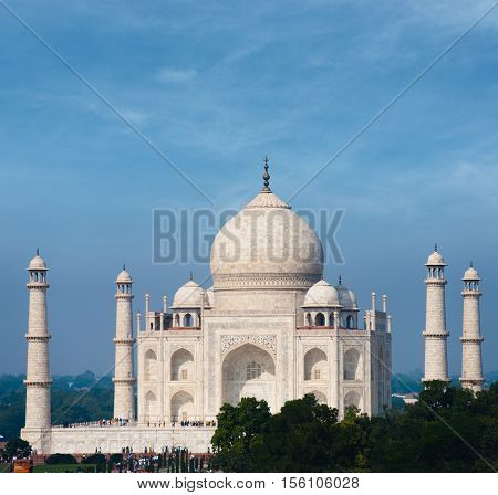 Taj Mahal Far White Marble Blue Sky Telephoto