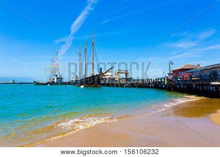 San Francisco Hyde St Pier Beach Ships Docked H