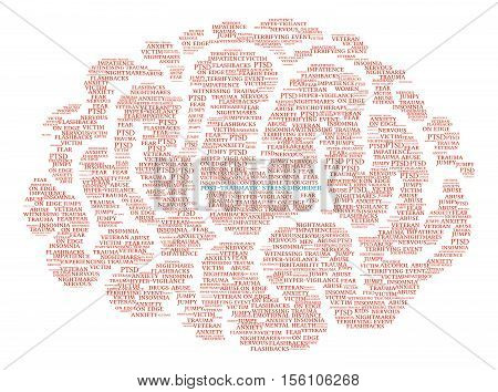 Post-Traumatic Stress Disorder Brain Word Cloud on a white background.