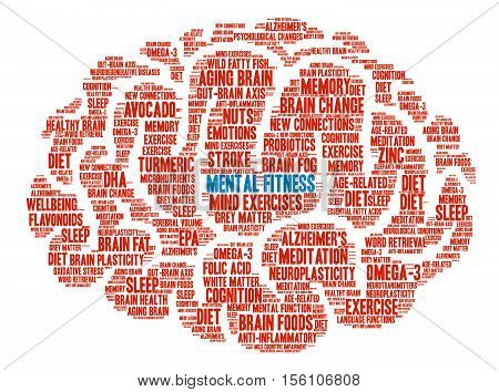 Mental Fitness Brain word cloud on a white background.