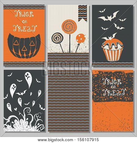 Halloween Posters set. Vector illustration. Collection of 6 cards. Halloween symbols pumpkin casper Jack lettering and stylized drawing in vintage style