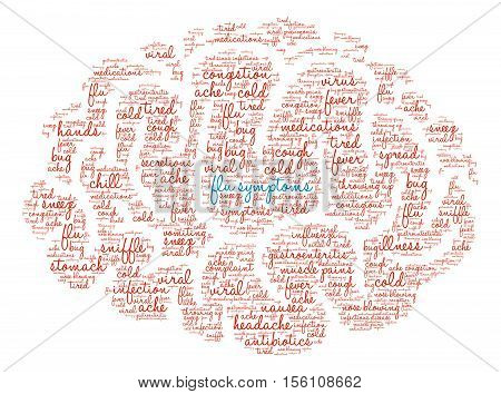 Flu Symptoms Brain Word Cloud