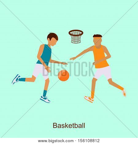 Basketball Players 2016 Summer Games in modern flat design.  Isolated  composition of Sporting Championship International Basketball Match Competition. Square banner abstract. Vector Illustration eps10