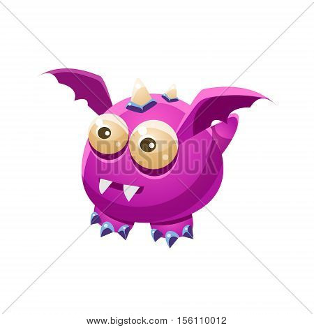 Violet Fantastic Friendly Pet Dragon With Sharp Fangs Fantasy Imaginary Monster Collection. Colorful Imaginary Dragon Like Alien Creature From Another Planet.