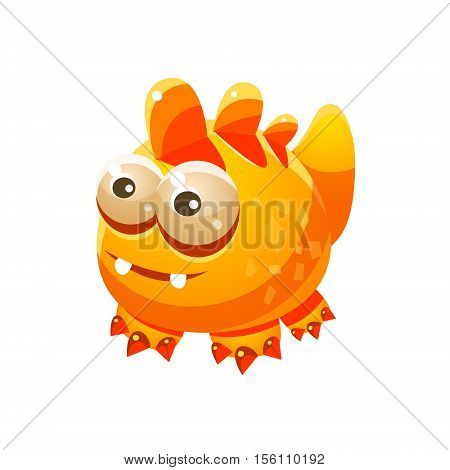 Yellow Fantastic Friendly Pet Wingess Dragon Fantasy Imaginary Monster Collection. Colorful Imaginary Dragon Like Alien Creature From Another Planet.