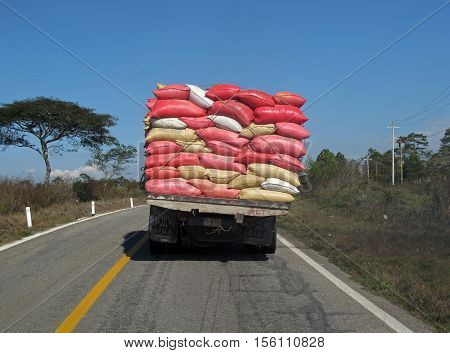 A heavy overloaded truck in Chiapas, Mexico