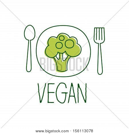 Fresh Vegan Food Promotional Sign With Broccoli On The Plate For Vegetarian, Vegan And Raw Food Diet Menu. Hand Drawn Advertisement Logo For Natural Products And Healthy Lifestyle Eating.