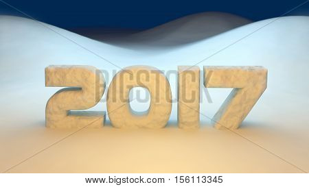 3D abstract illustration of 2017 year on a snow background