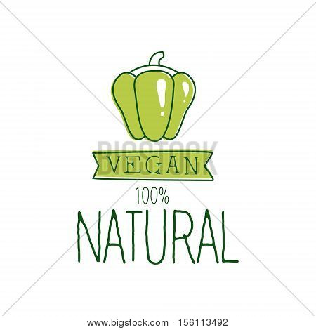 Fresh Vegan Food Promotional Sign With Green Sweet Pepper For Vegetarian, Vegan And Raw Food Diet Menu. Hand Drawn Advertisement Logo For Natural Products And Healthy Lifestyle Eating.