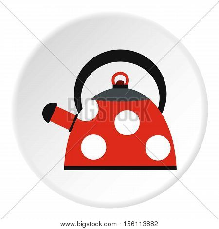 Red heating kettle with white polka dots icon. Flat illustration of red heating kettle with white polka dots vector icon for web