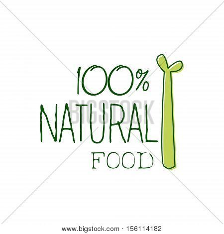 Fresh Vegan Food Promotional Sign With Asparagus For Vegetarian, Vegan And Raw Food Diet Menu. Hand Drawn Advertisement Logo For Natural Products And Healthy Lifestyle Eating.