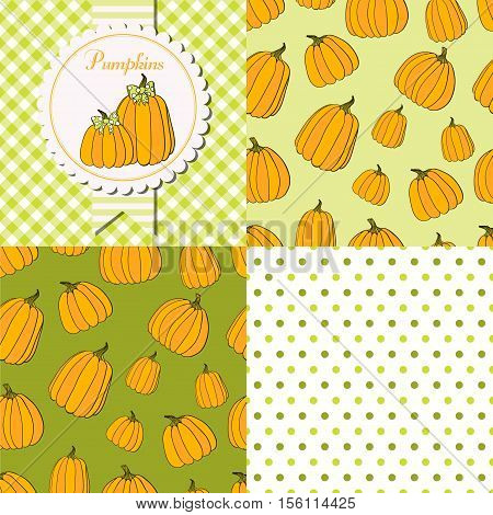 Pumpkins collection. Paper label and seamless patterns with Gingham Polka Dot and Pumpkins on dark and light background. Perfect for wallpaper wrapping paper textile package design