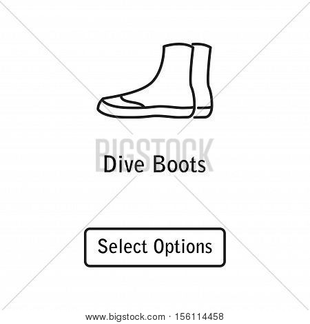Icon boots scuba diving equipment in a modern style lines. Isolated element for website, online Store or shop. Vector illustration. eps10