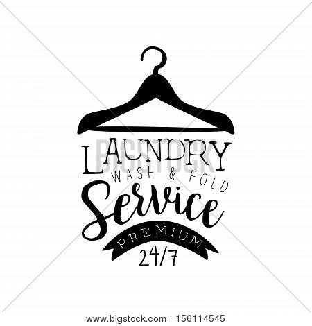 Black And White Sign For The Laundry Dry Cleaning Service With Clothes Hanger Silhouette
