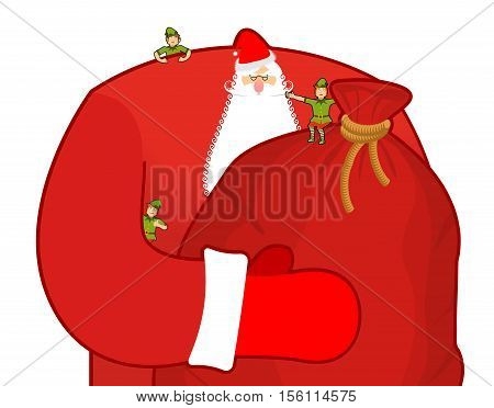 Santa Claus With Big Sack Of Gifts. Christmas Elf Helpers. Red Bag With Toys And Sweets. Character F