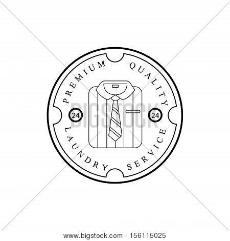 Black And White Sign For The Laundry And Dry Cleaning Service With Folded Shirt And Tie In Round Frame. Vector Clothes Washing Service Template Logo With Calligraphic Text, Wash And Fold Stamp Collection.