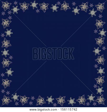 Square frame made of handmade paper snowflakes in quilling technique on dark blue background. Can be used as Christmas or New Year background for cards napkins wrapping paper.